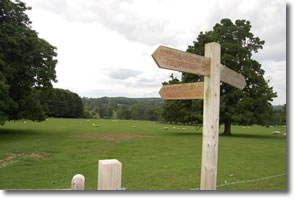 signpost and gate in corner of field