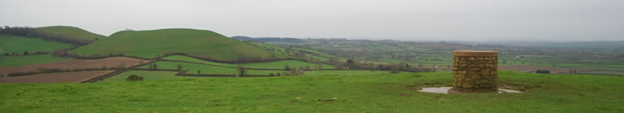 top of Cadbury Castle and Whitcombe to the left