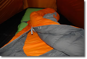 partly open Therm-a-rest Antares sleeping bag